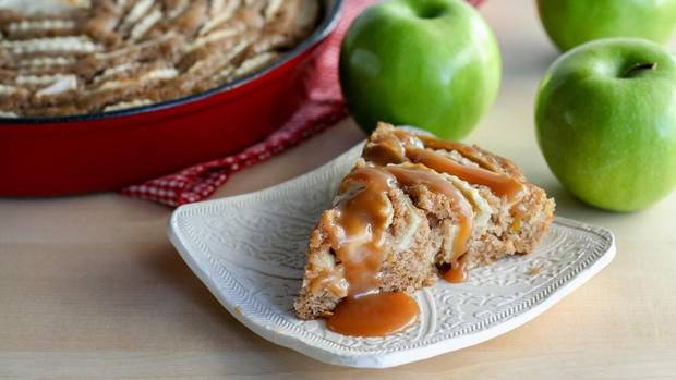 Stephanie Eddy - Globe & Mail - Apple Skillet Cake with Caramel Sauce